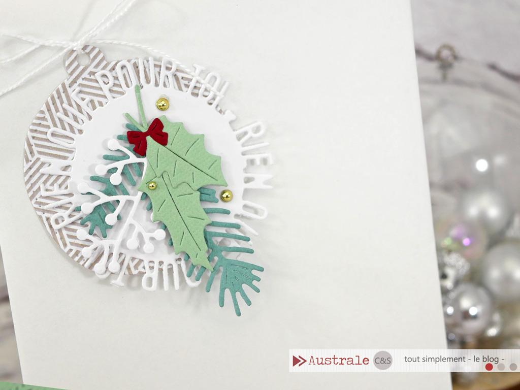Etiquette cadeau façon boule de noël avec découpe du sentiment en cercle et feuillages d'hiver.