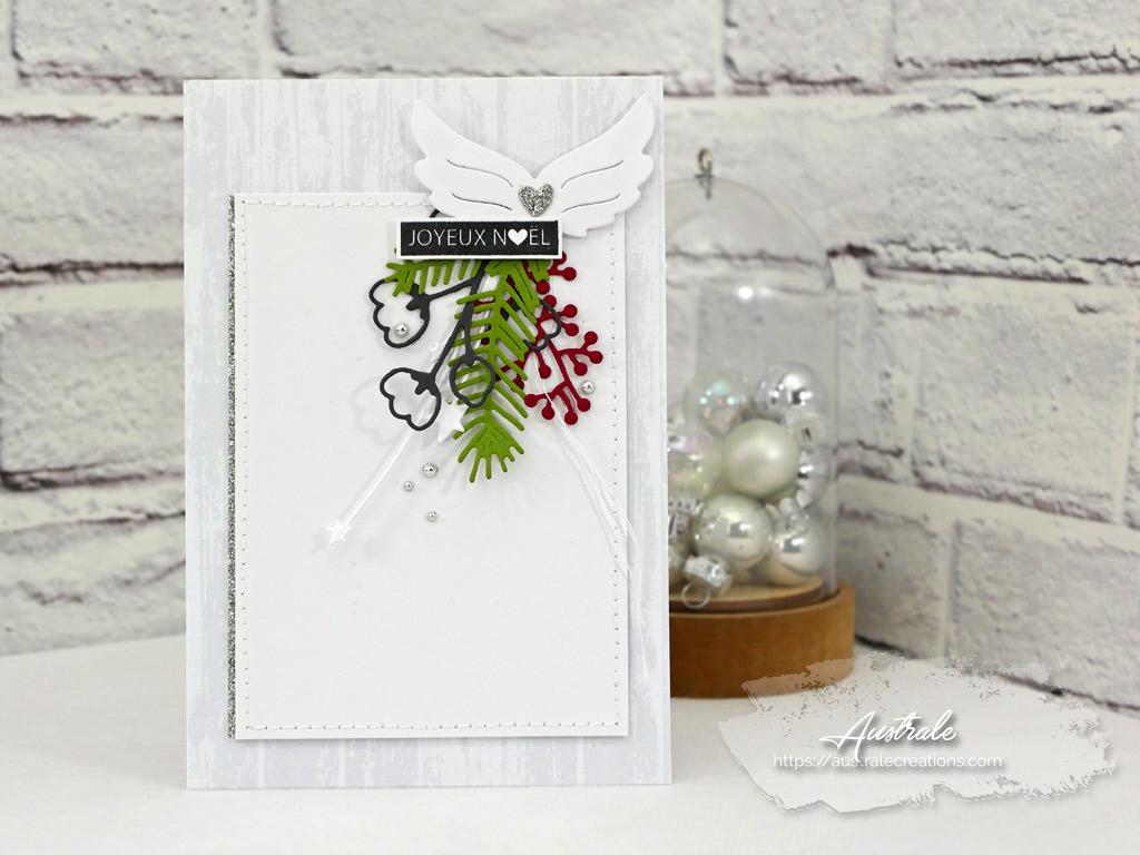 Carte de vœux pour Noel dans un combo en gris vert et rouge, ailes d'ange et feuillages en 4enscrap.