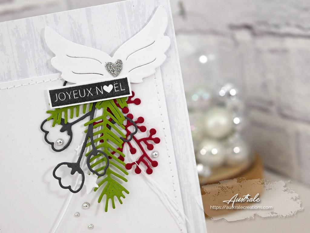 Carte de vœux pour Noel dans un combo en gris vert et rouge, ailes d'ange et feuillages en 4enscrap.Carte de vœux pour Noel dans un combo en gris vert et rouge, ailes d'ange et feuillages en 4enscrap.