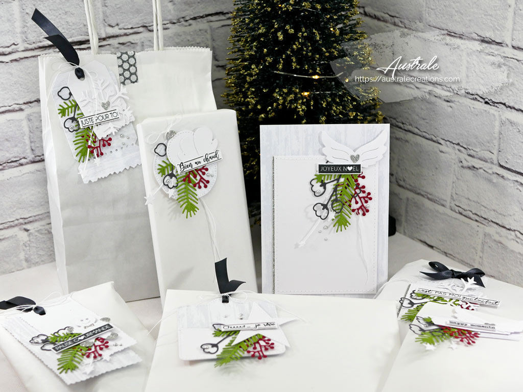 Carte et étiquettes cadeaux pour Noel dans un combo en gris vert et rouge, ailes d'ange, étoile, flocon, mouffles et feuillages en 4enscrap.