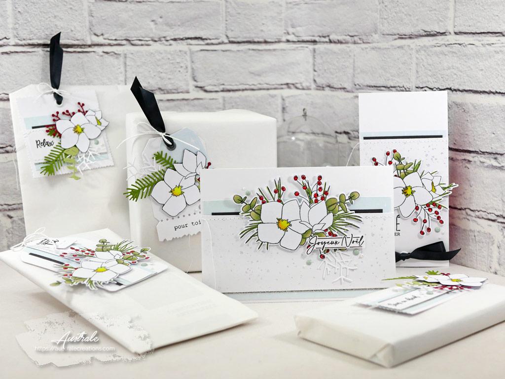 Ensemble cadeau de noël composé de carte et étiquettes cadeau avec Hellébores et feuillages.