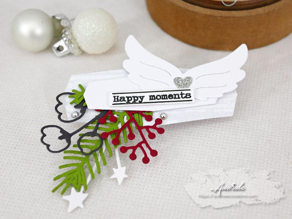 Etiquettes cadeaux pour Noel dans un combo en gris vert et rouge, ailes d'ange et feuillages en 4enscrap.