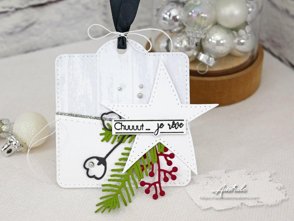 Etiquettes cadeaux pour Noel dans un combo en gris vert et rouge, étoile et feuillages en 4enscrap.