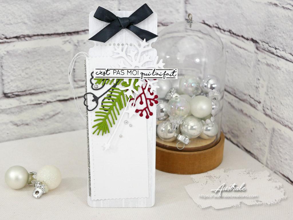 Etiquettes cadeaux pour Noel dans un combo en gris vert et rouge, flocon et feuillages en 4enscrap.