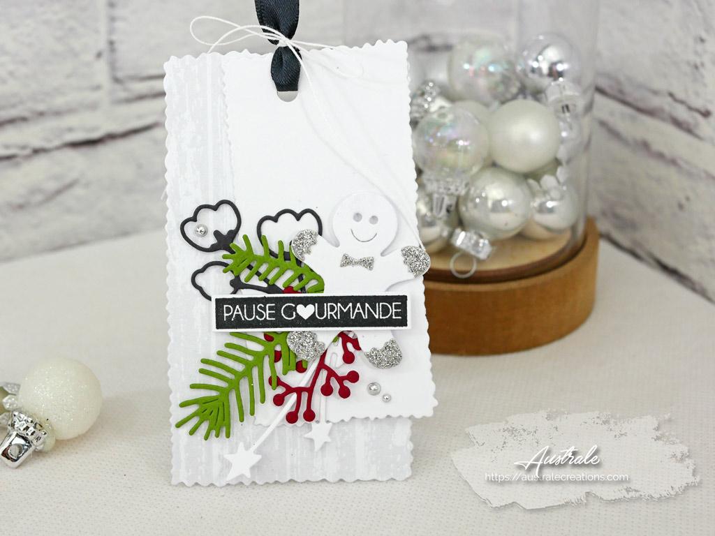 Etiquettes cadeaux pour Noel dans un combo en gris vert et rouge, bonhomme de pain d'épices et feuillages en 4enscrap.