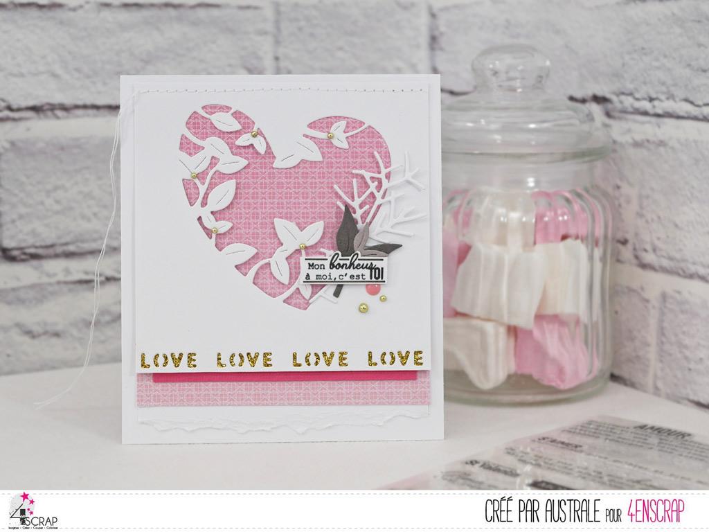 Carte d'amour pour la Saint Valentin avec coeur de feuillges en transparence, feuillages, étiquettes.