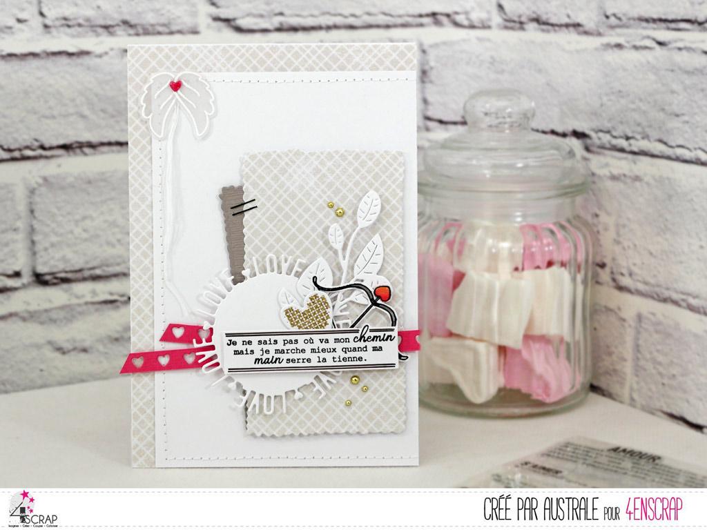 Carte d'amour pour la Saint Valentin avec rond texte, feuillages, arc de cupidon et ailes d'ange.
