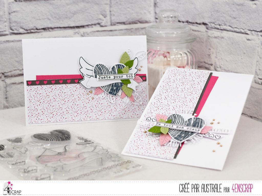 Cartes d'amour ou d'amitié pour la Saint Valentin avec papier imprimé, cœurs, feuillages dans un combo en roses, gris e verts.