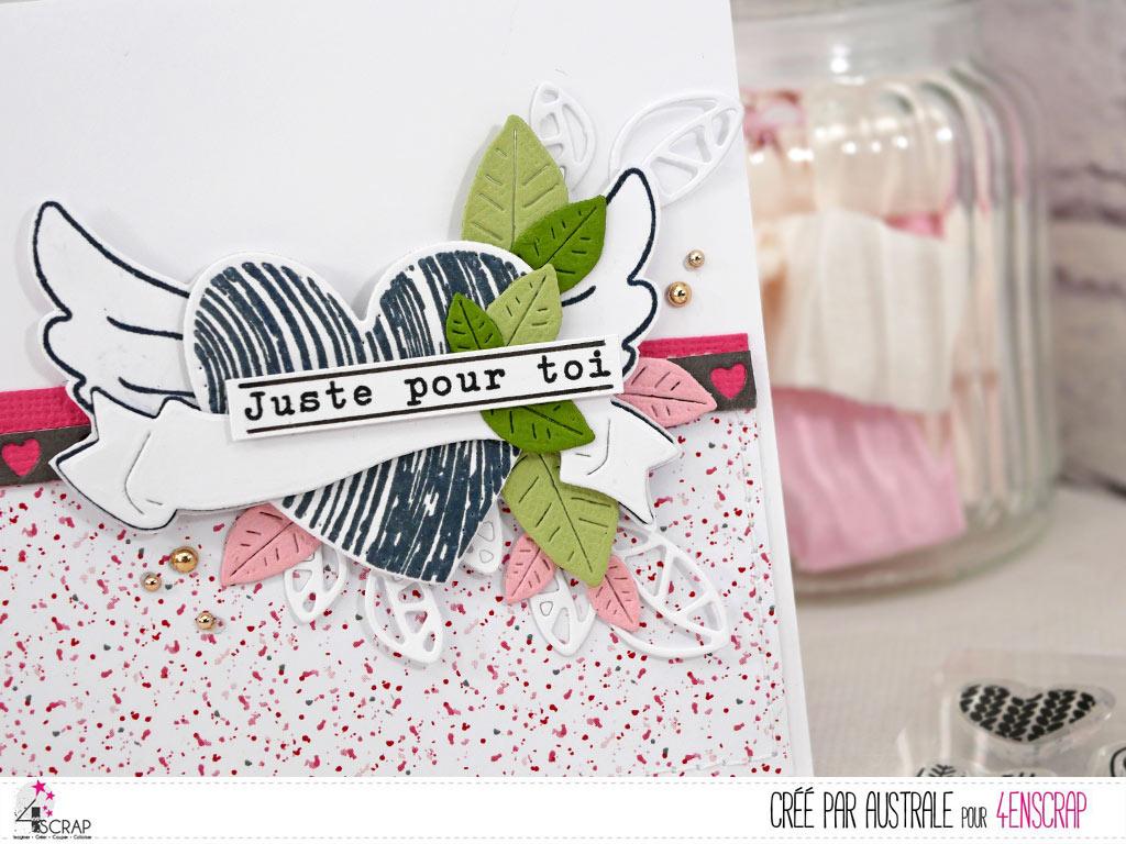 Carte d'amour ou d'amitié pour la Saint Valentin avec papier imprimé, cœur, feuillages dans un combo en roses, gris e verts.