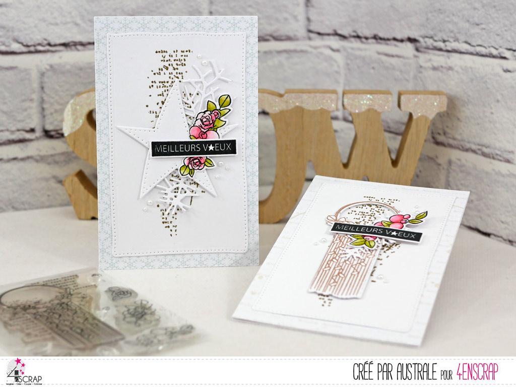 Cartes de voeux pour la nouvelle année avec fond texte embossé à chaud à la poudre dorée, étoile ou macramé, quelques fleurs, feuillages et étiquette.