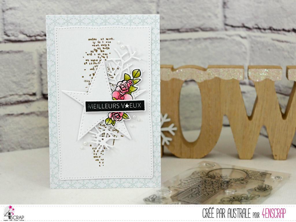 Carte de voeux pour la nouvelle année avec fond texte embossé à chaud à la poudre dorée, étoile, quelques fleurs, feuillages et étiquette.