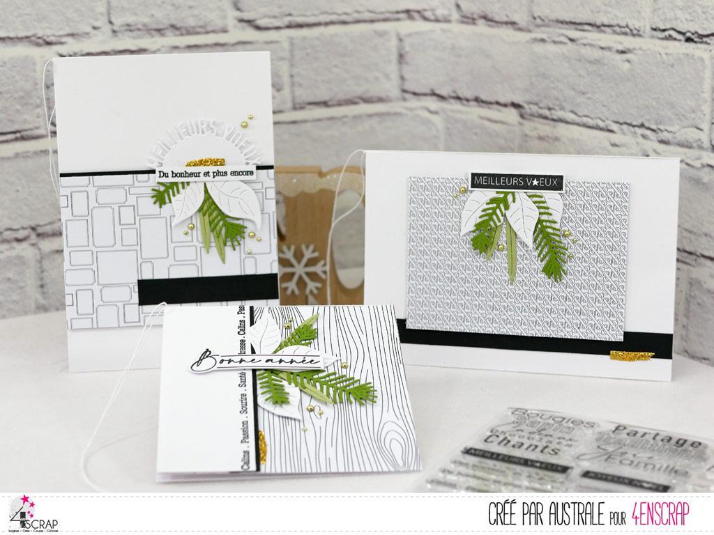 Cartes de vœux dans un combo en noir, blanc, vert et une touche de doré avec feuillages et textes de bonne année;