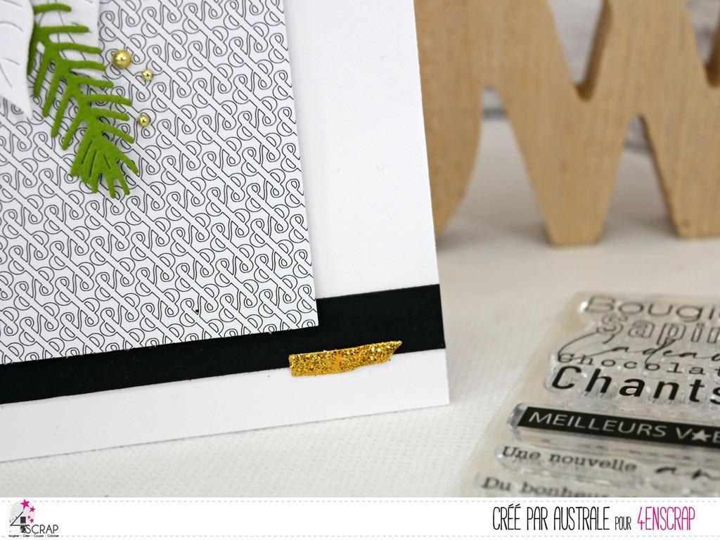 Carte de vœux dans un combo en noir, blanc, vert et une touche de doré avec feuillages et texte de bonne année;