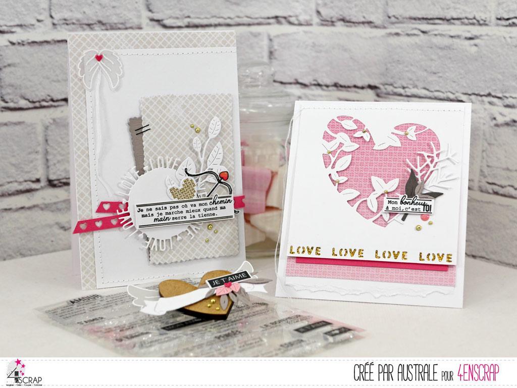 Cartes et décoration magnétique pour la Saint Valentin en 4enscrap avec coeurs, feuillages, ailes d'ange.