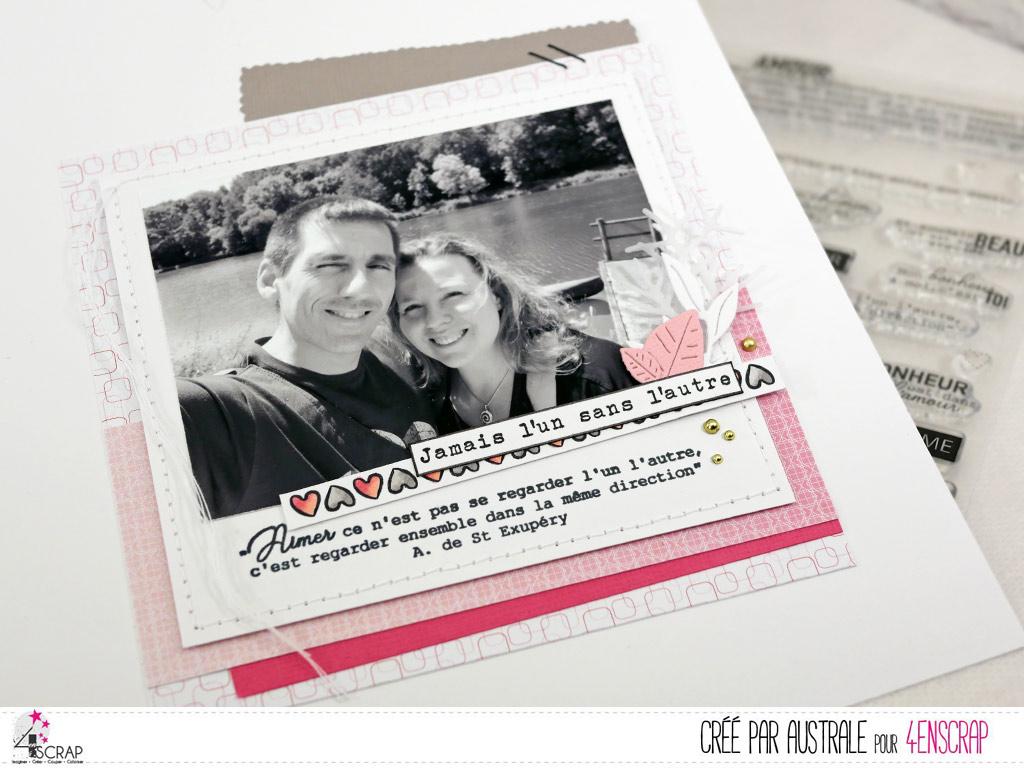 Page de scrap, A4, photo de couple en noir et blanc et assemblage de différentes papiers rose et gris pour la mini collection Saint Valentin de 4enscrap.
