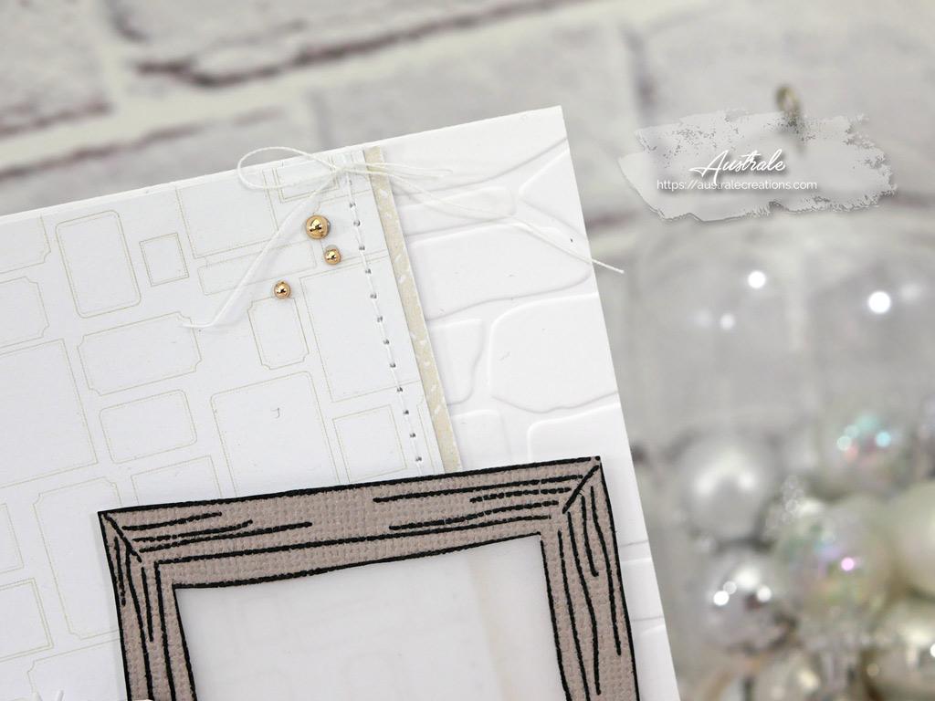 Carte d'anniversaire dans un combo nature en taupe et vert et une touche de couture en 4enscrap.