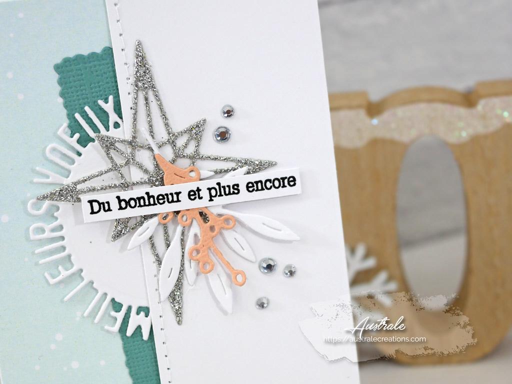 Mini carte de vœux en blanc, menthe, saumon et argenté, quelques feuillages et étoile scintillante.