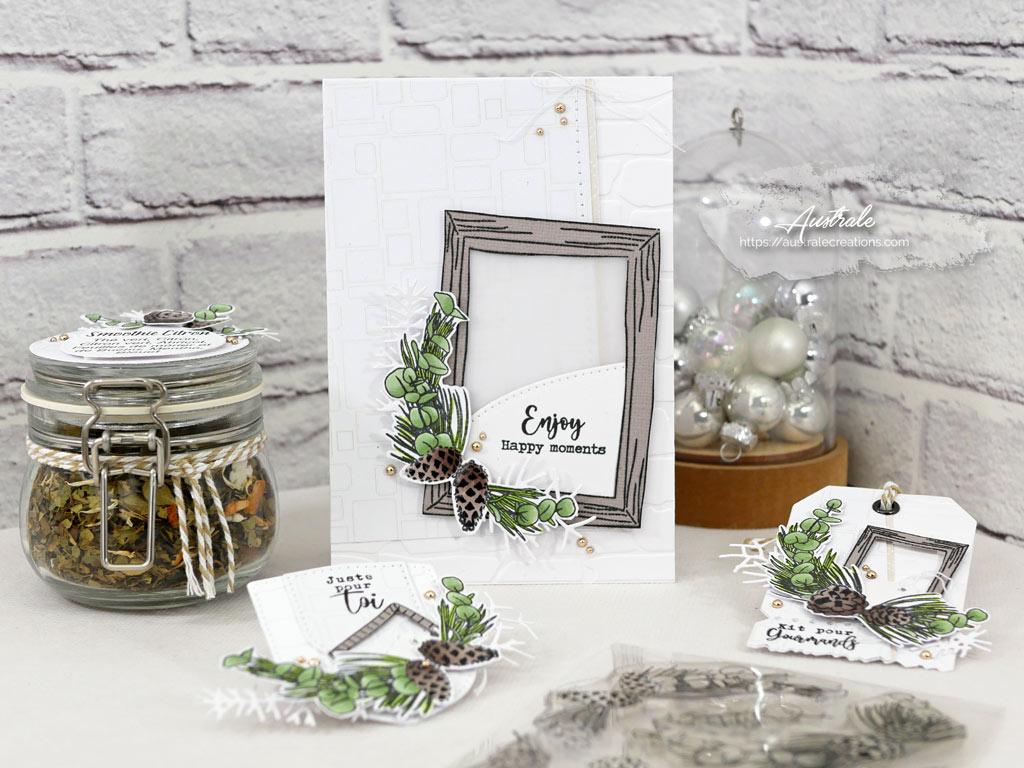 Carte, bocal à thé, étiquettes cadeaux avec cadres et couronne de feuillages d'hiver dans un combo nature en taupe et vert et une touche de couture en 4enscrap.