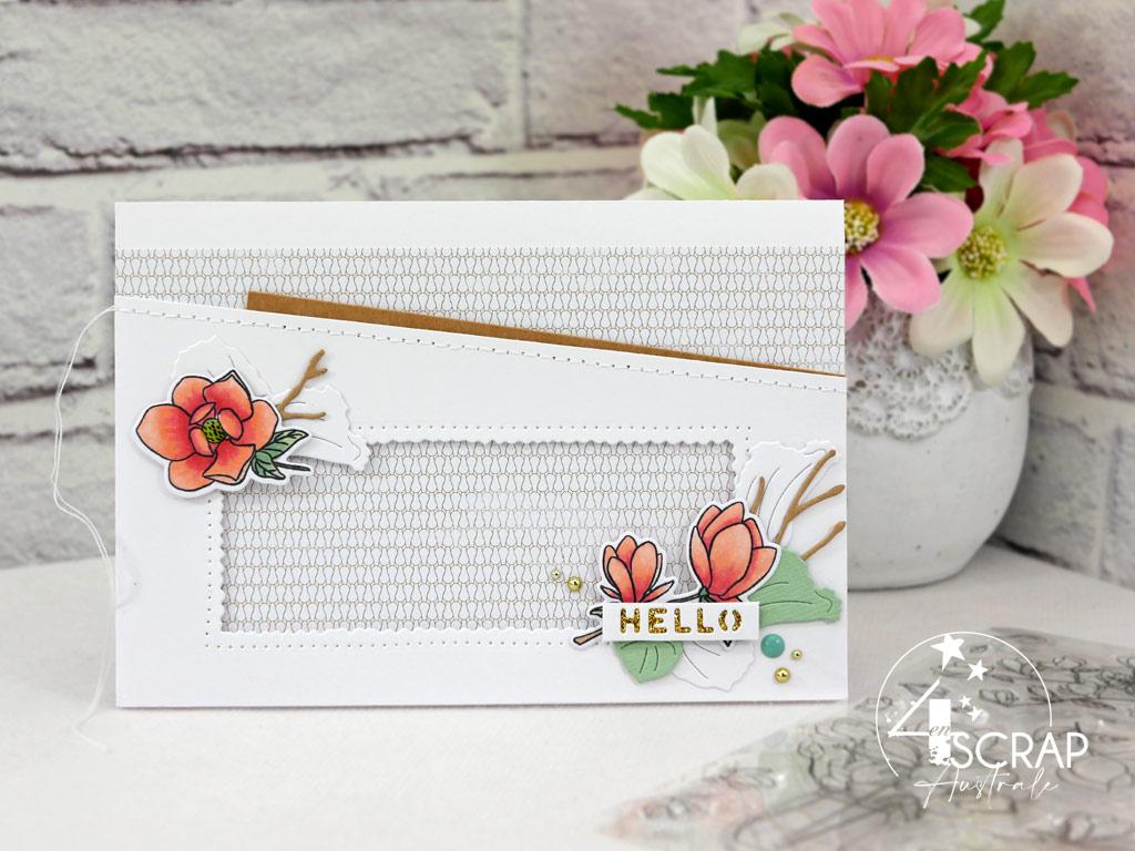 Carte printanière en rose, vcert, kraft, transparence, magnolias, feuillages et étiquette pour l'avant première de la collection printemps 2021 de 4enscrap.