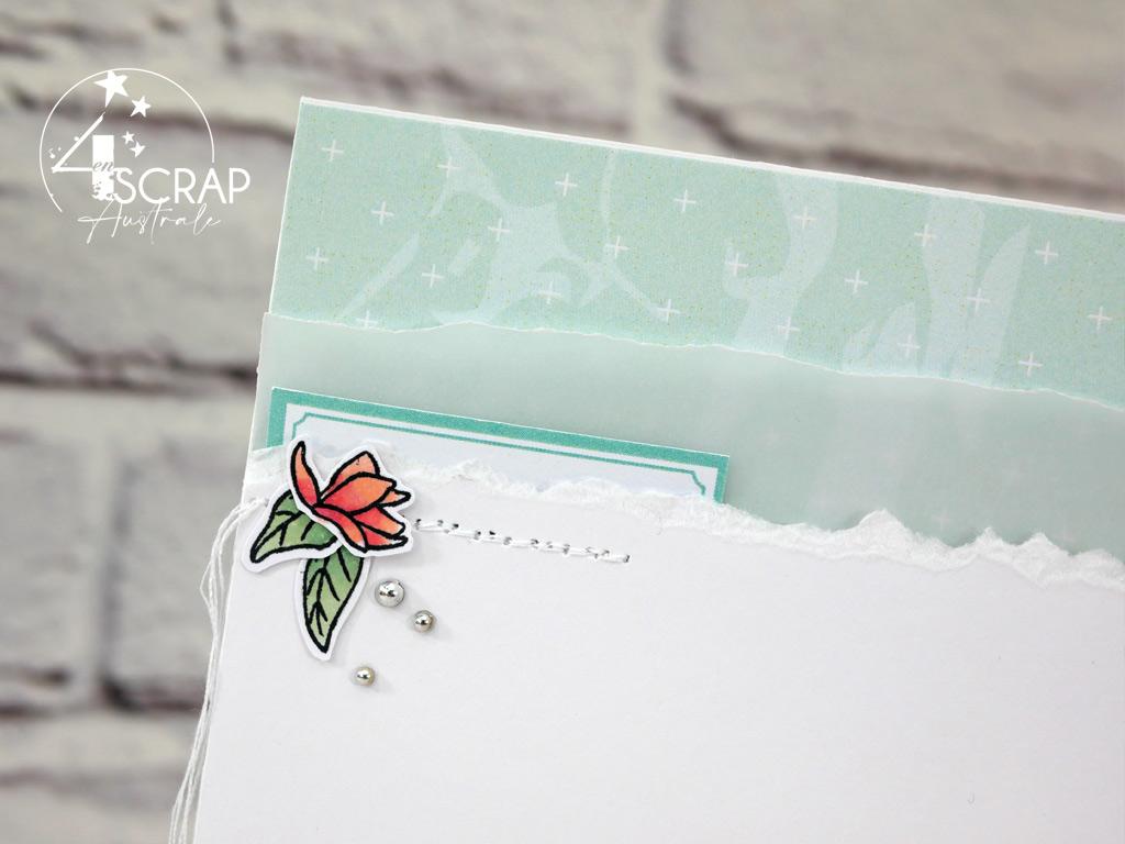 Carte printanière dans un combo en rose, blanc, vert, branche de magnolias et étiquettes pour l'avant première de la collection printemps 2021 de 4enscrap.