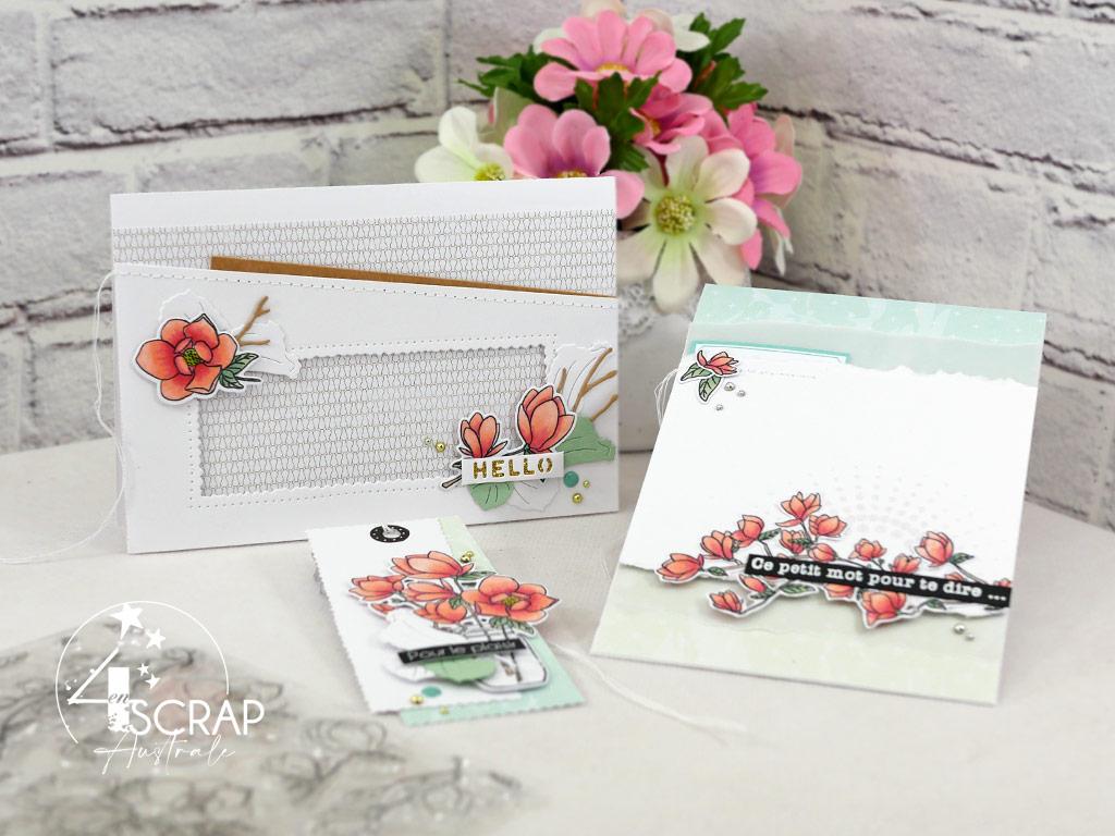 Cartes et étiquettes cadeaux réalisées avec la planche magnolia de la collection printemps 2021 signée 4enscrap.