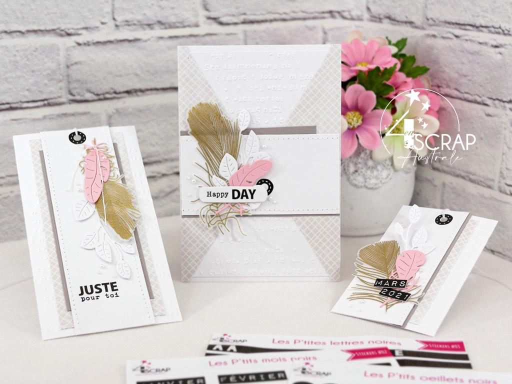 Ensemble cadeau composé d'une carte d'anniversaire et d'étiquettes dans un combo en beige, rose et doré, avec des plumes, des feuillages et étiquette en stickers.