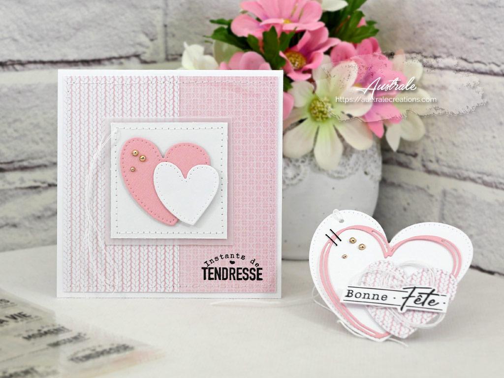 Duo composé d'une carte et d'une étiquette pour la Saint Valentin en rose et blanc avec petits coeurs.