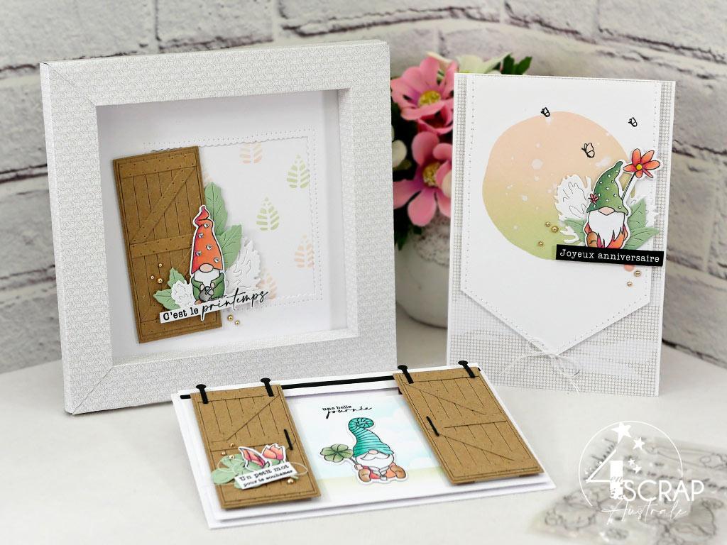 Trio composé d'un home déco avec cadre en papier imprimé et de deux carte avec gnome de printemps pour la nouvelle c collection de 4enscrap.