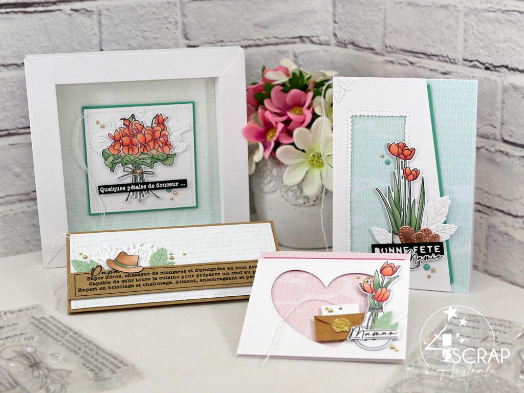 Trio de carte pour fêtes les parents et grands-parents et home déco cadre en papier avec bouquet de viuolettes.