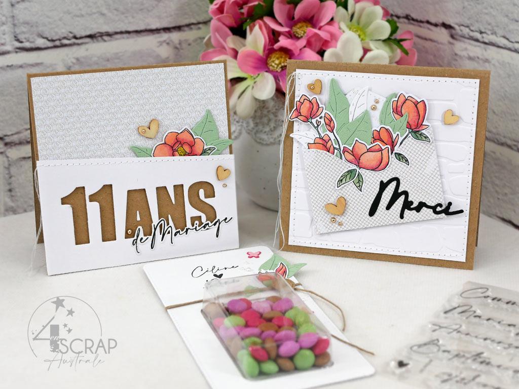 Ensemble composé de deux cartes et de cadeaux d'invités pour anniversaire de mariage dans un combo en rose, vert et kraft, magnolias, feuillages.