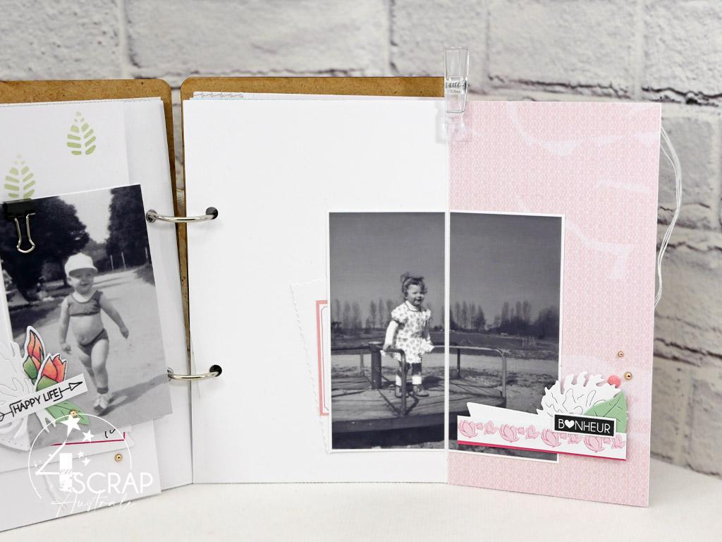 Mini album de printemps avec photos en noir et blanc de souvenirs d'enfance avec les tampons et matrices de la collections printemps 2021 de 4enscrap.