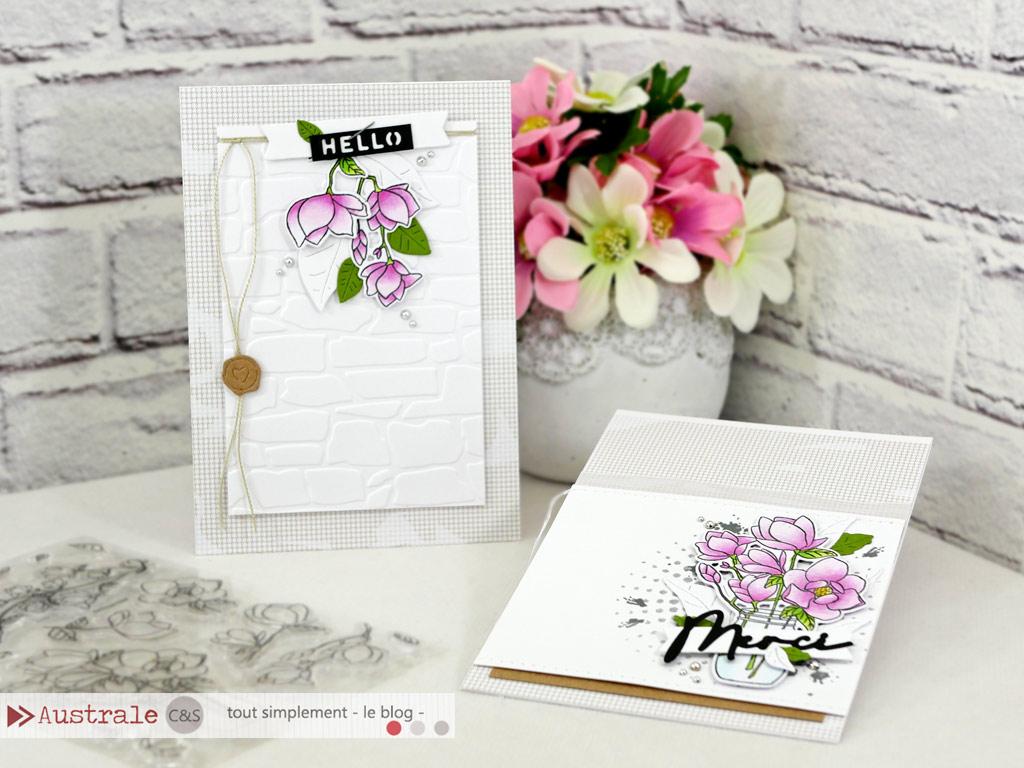 Cartes avec magnolias et feuillages dans un combo en rose, vert et kraft.