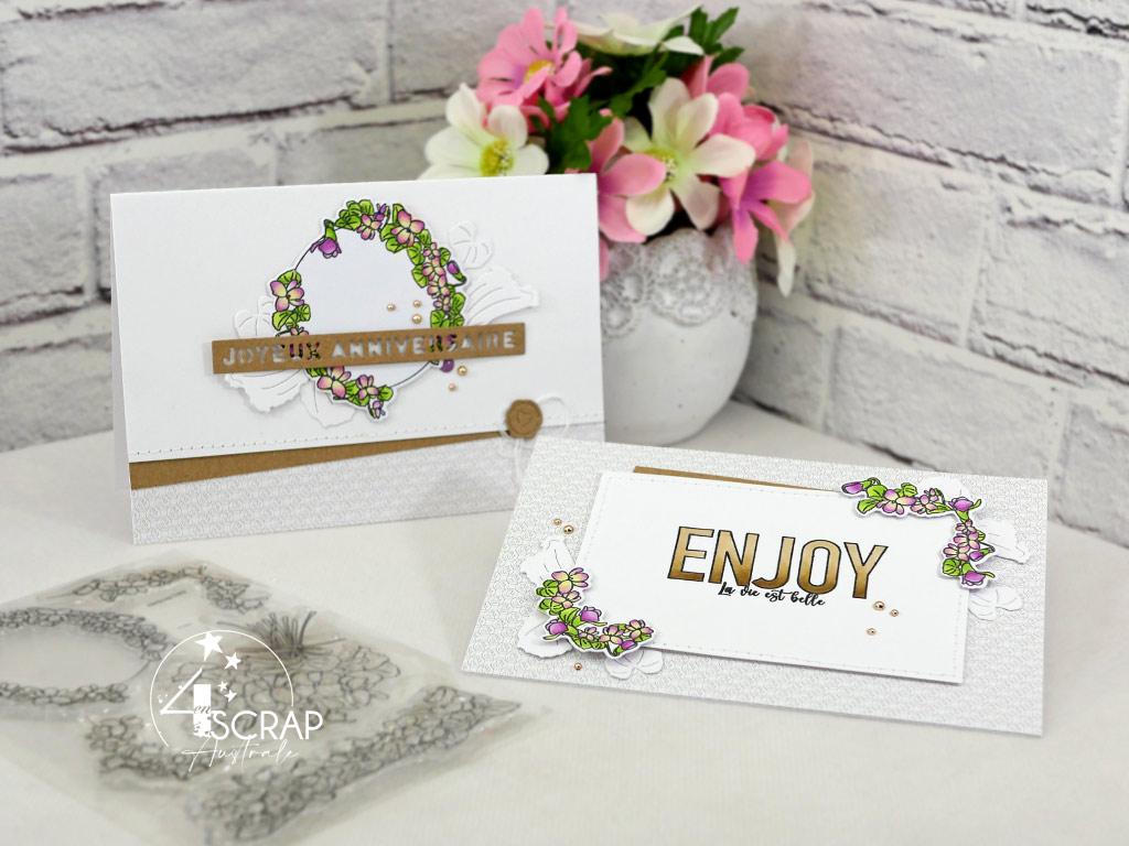 Duo de cartes d'anniversaires avec couronne de violettes et coins, feuillages, gros titres dans un combo en kraft, mauve et vert.