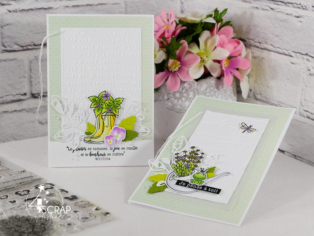 Création d'un duo de cartes printanières avec bottes et arrosoir fleuris.