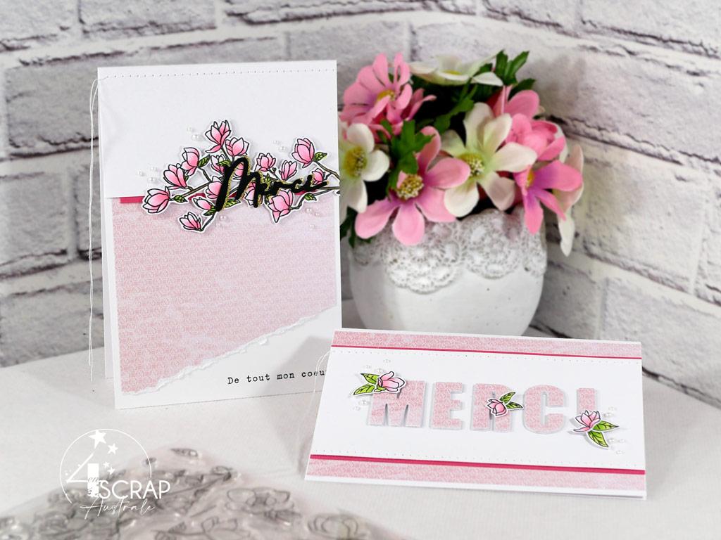 Création de deux cartes de remerciements avec les fleurs et branches de magnolias de 4enscrap.