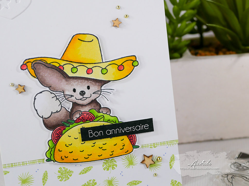 Création d'une carte d'anniversaire sur le thème du mexique avec tacos et sombrero.