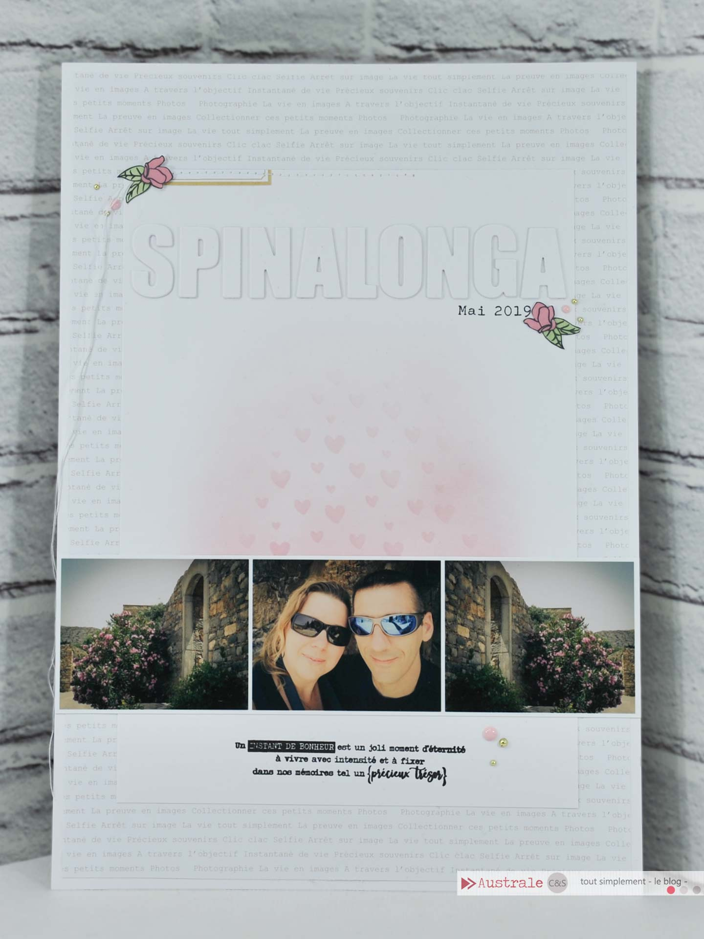 Création d'une page de scrap pour album A4 avec des photos de l'ile de Spinalonga en Crête.