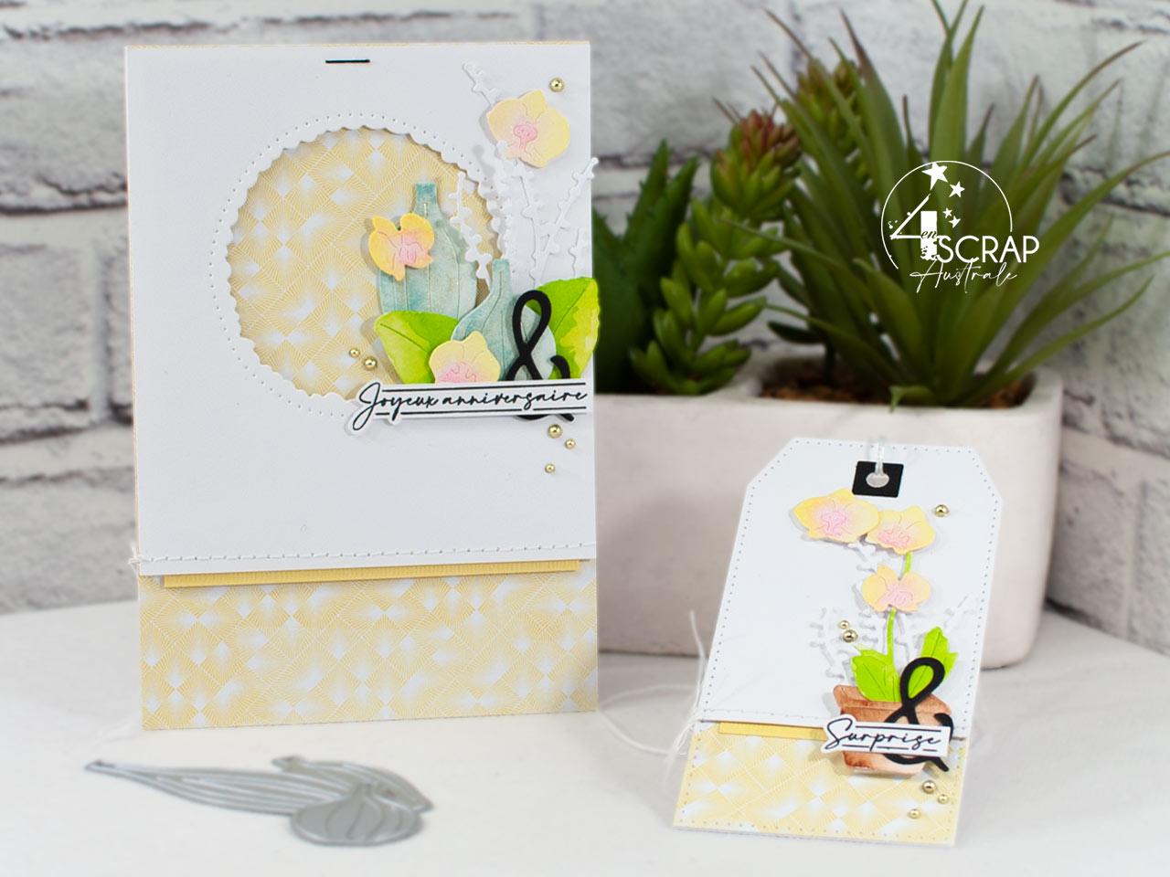 Création d'un duo composé d'une carte et d'une étiquette avec des orchidées à l'aquarelle.