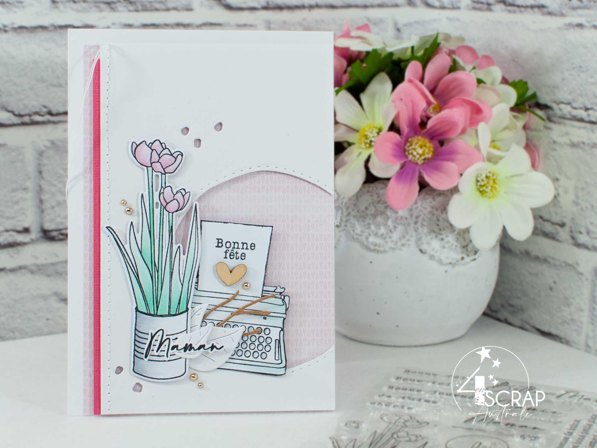 Création d'une carte pour la fête des mères avec un bouquet de tulipes, machine à écrire et quelques feuillages.