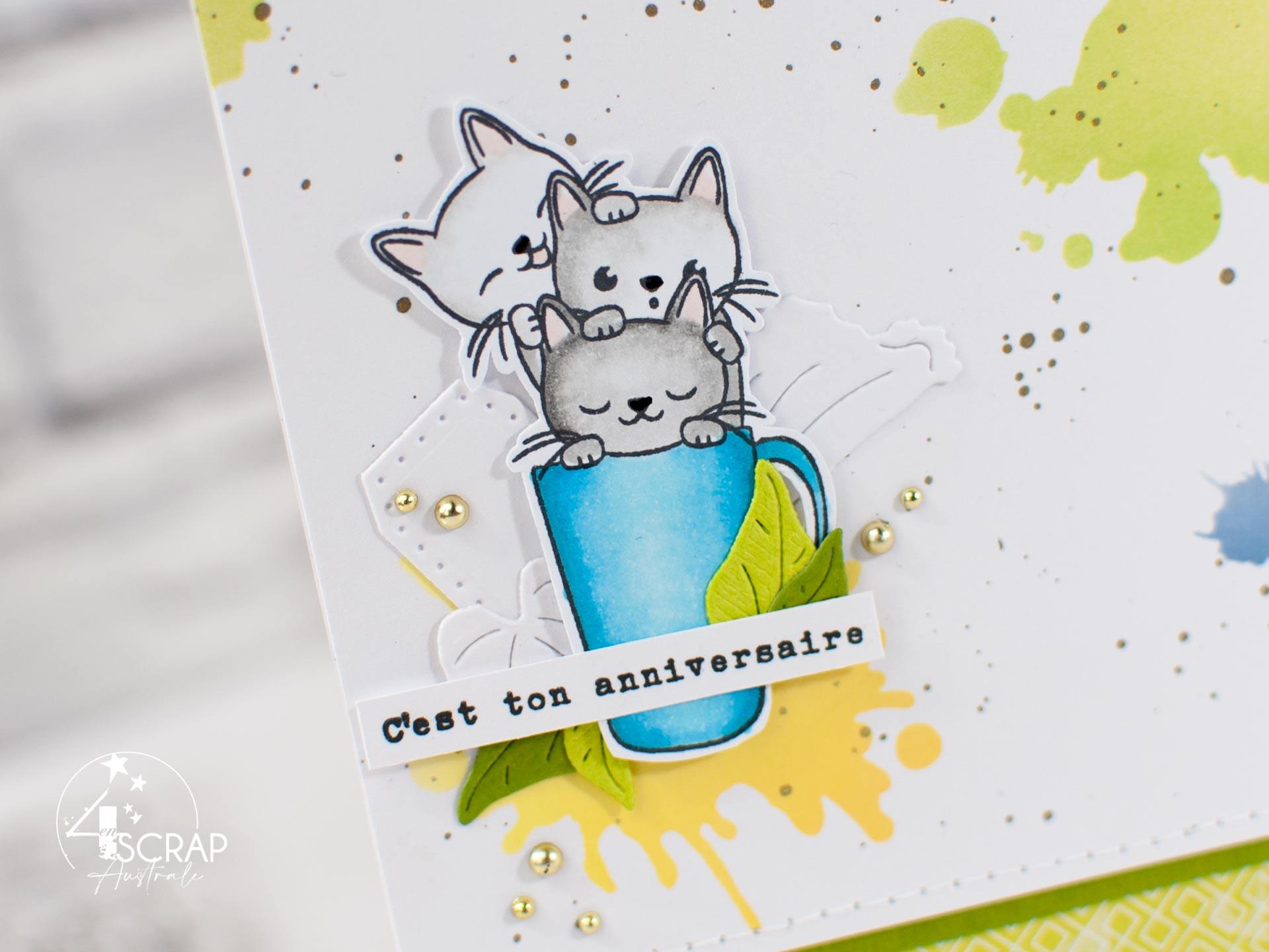 Carte d'anniversaire avec fond taches réalisé au pochoir et à l'encre, des petits chats dans une tasse, feuillages et étiquettes.