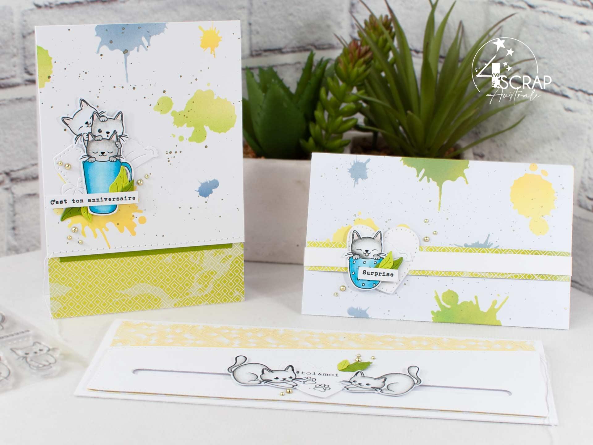 Trio de créations sur le thème des chats pour la collection été 2021 de 4enscrap.