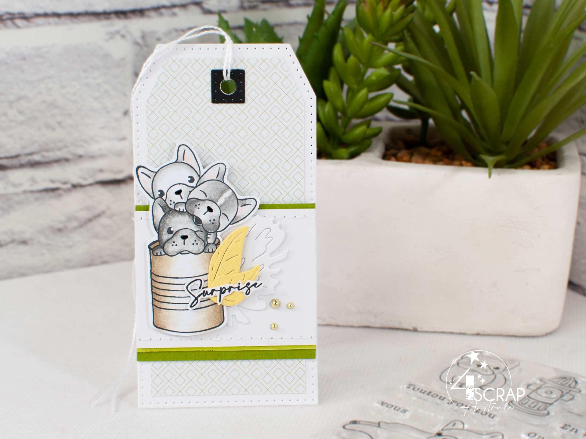 Etiquette cadeau avec d'adorables bouledogues Français.