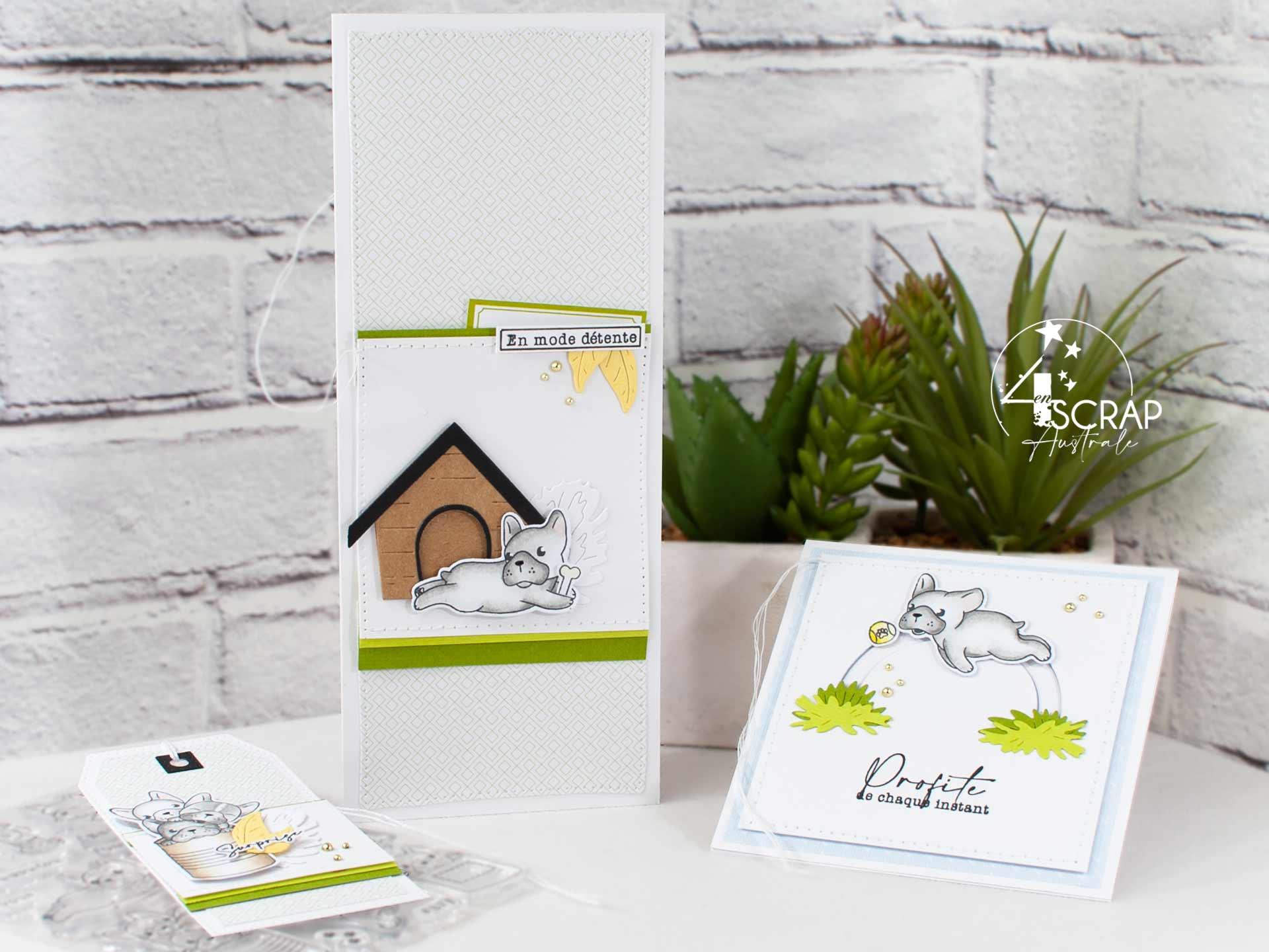 Trio de créations sur le thème des chiens pour la nouvelle collection été 2021 de 4enscrap.