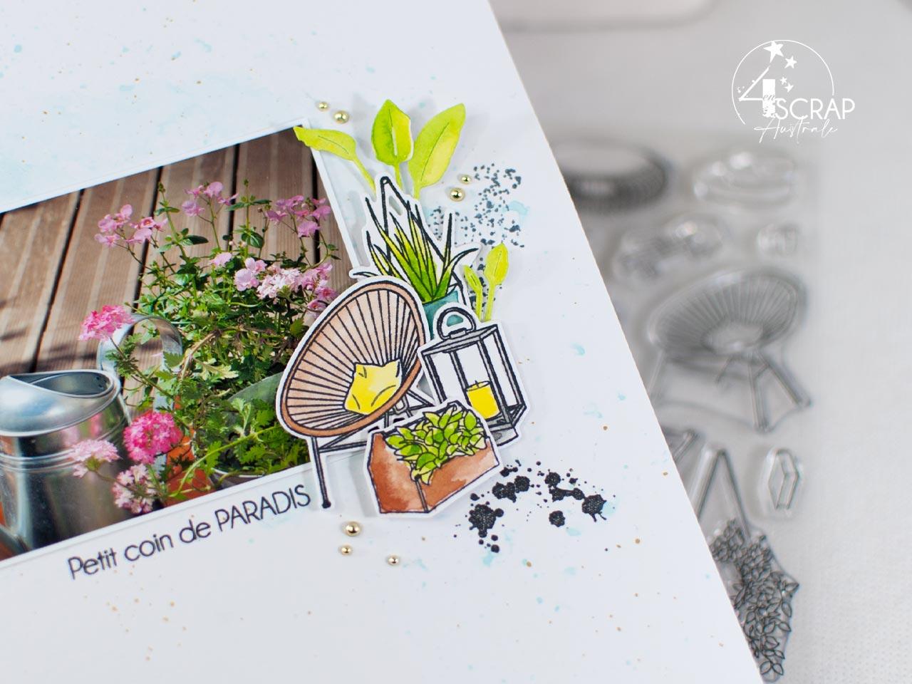 Création d'une page de scrap pour album A4 avec une photo d'un coin de terrasse et éléments à l'aquarelle.