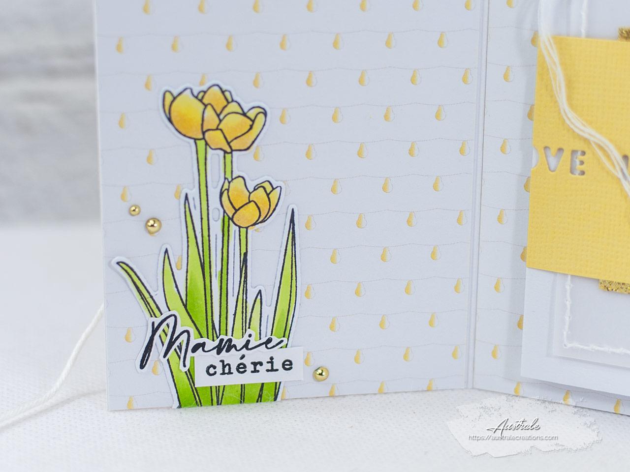 Création d'une carte pochette photo pour anniversaire de grand-mère.