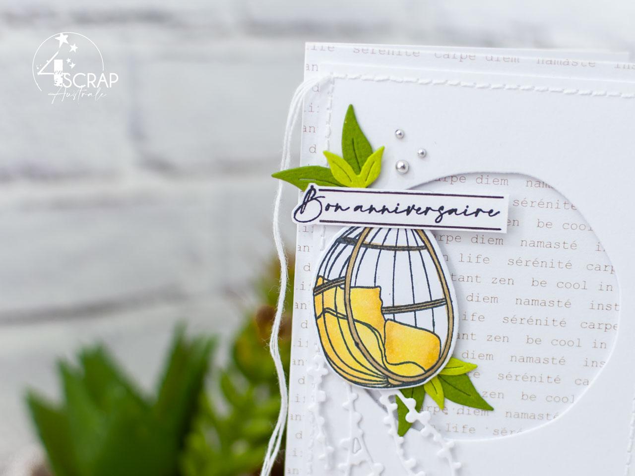 Création d'une carte longue et d'une étiquette cadeau pour un anniversaire estival sur le thème du cocooning en terrasse.