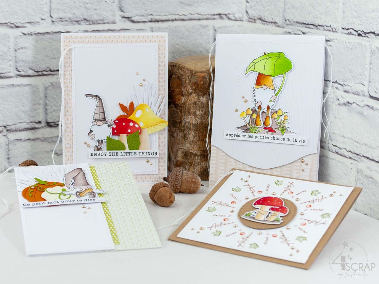 Création de cartes d'automne avec les produits de la collection automne 2021 de 4enscrap, de jolis champignons et d'adorables lutins de bois.