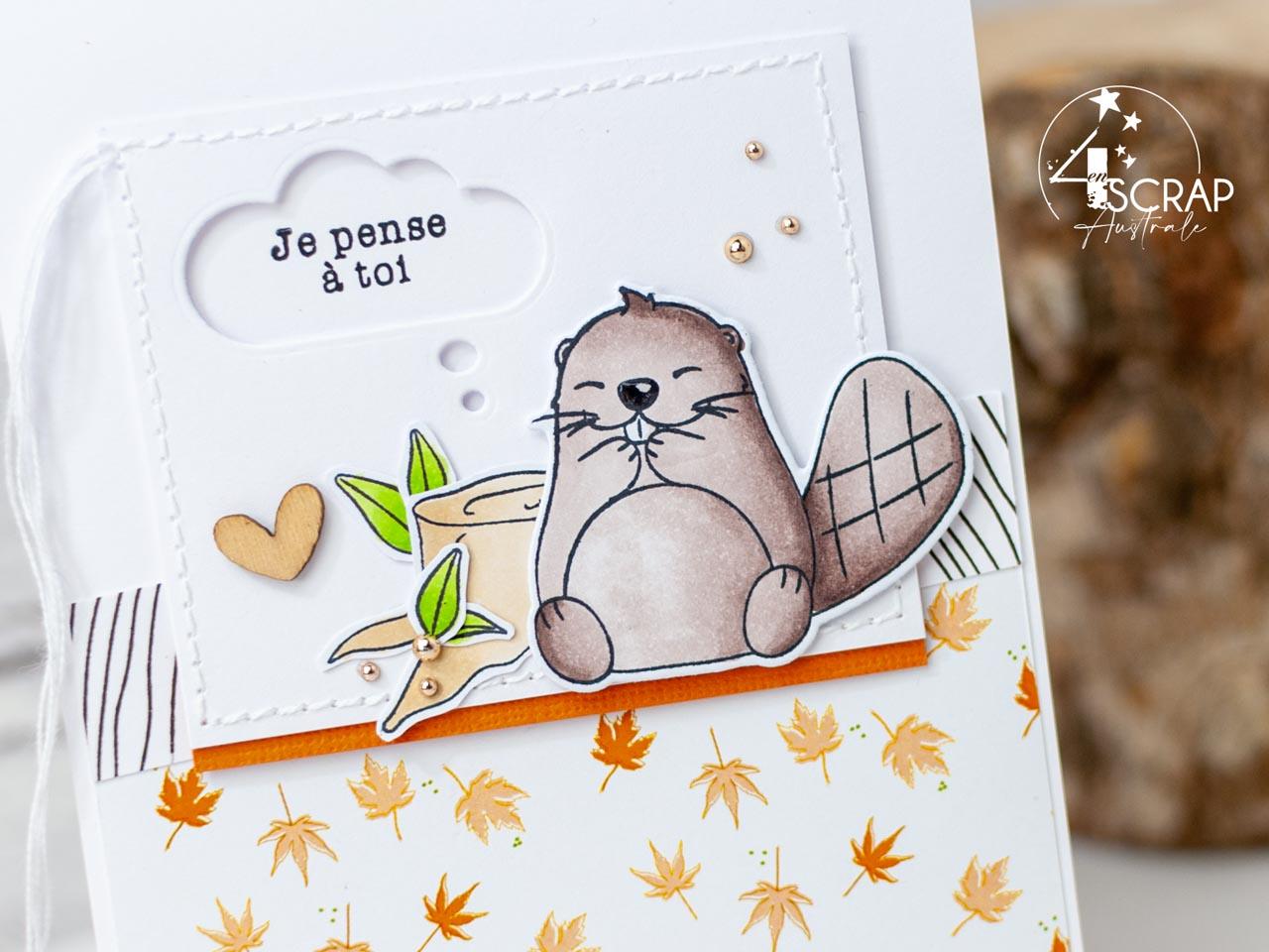 Création de cartes automnales avec d'adorables castors, feuillages et bulle BD.
